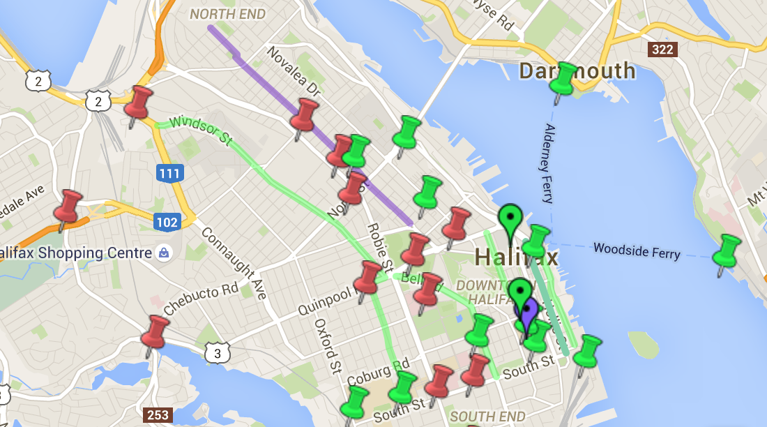 Halifax bicycle facilities map