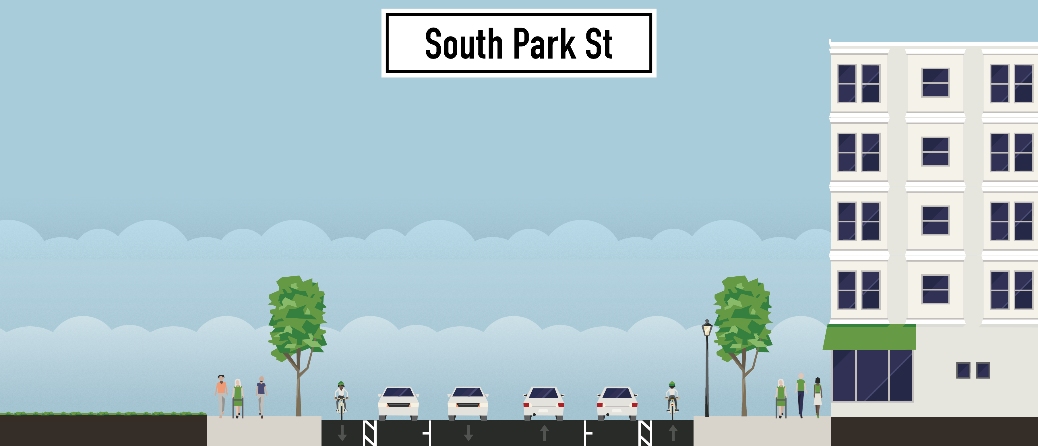 protected bicycle lane south park