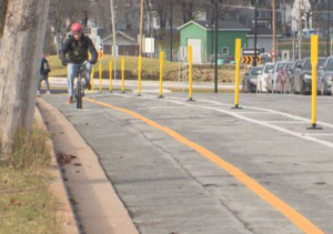 Rainnie Drive, Halifax's first protected bicycle lane