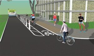 Image of proposed bike lane on South side of University Av.