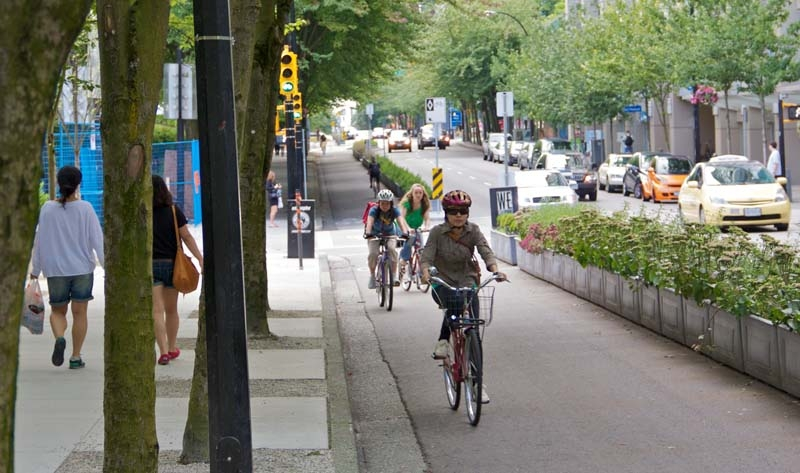 Vancouver's Hornby planter-protected bicycle lane