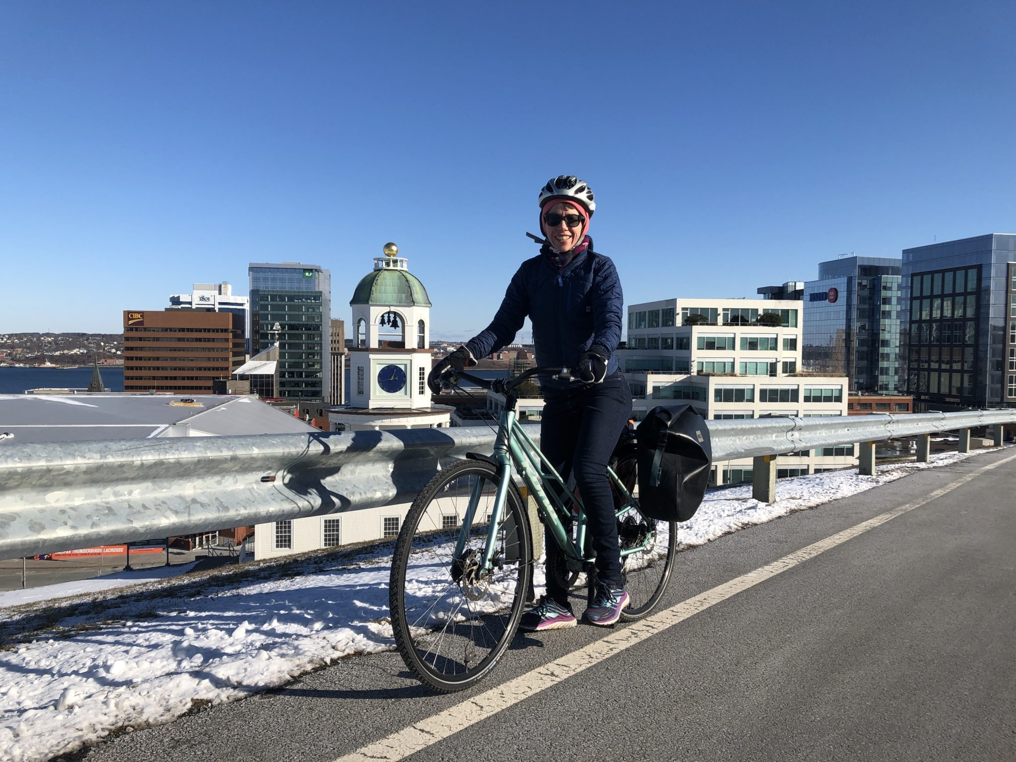 Jillian Banfield on her bike on Citadel Hill.